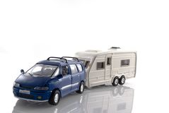 Car with caravan Stock Images
