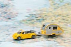 Car and caravan on a map