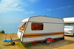 Car caravan. Caravan car sea holidays summer Royalty Free Stock Photography