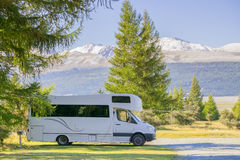 Car caravan at South Island, New Zealand royalty free stock image