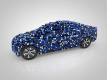 Car and carbody. 3D rendering: car and carbody made out of blue cubes Stock Image