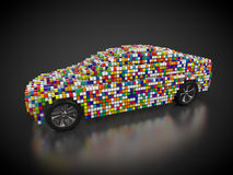 Car and carbody. 3D rendering: car and carbody made out of colorful cubes Stock Photography