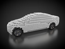 Car and carbody. 3D rendering: car and carbody made out of white cubes Stock Images