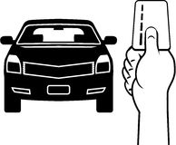 Car and card in hand Vector Royalty Free Stock Photo