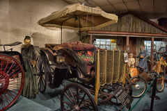 Car and carriage caravan museum Royalty Free Stock Photo