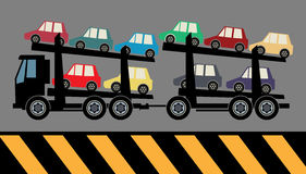 Car carrier truck. Deliver new auto Stock Image