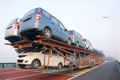 Car carrier truck. The Car carrier truck on the expressway stock photo