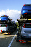 Car-carrier trucks royalty free stock image