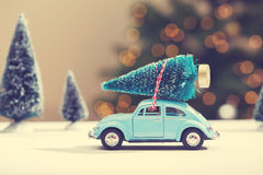 Car carrying a Christmas tree royalty free stock images