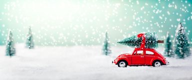 Car Carrying Christmas Tree vector illustration