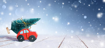Car Carrying Christmas Tree royalty free stock photo