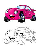 Car cartoon coloring page 1 Royalty Free Stock Image