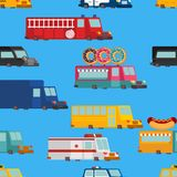 Car cartoon seamless pattern. Fire engine and police car. ambula. Nce and taxi. Fast food truck. vector illustration Royalty Free Stock Images