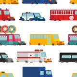 Car cartoon seamless pattern. Fire engine and police car. ambula. Nce and taxi. Fast food truck. vector illustration Stock Photography