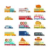 Car cartoon set. Fire engine and police car. ambulance and taxi. Fast food truck. vector illustration Stock Photos