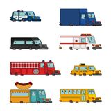 Car cartoon set. Fire engine and police car. ambulance and taxi. Fast food truck. vector illustration Royalty Free Stock Photography