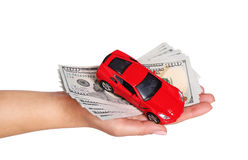 Car with cash in female hand isolated on white. Background Stock Photography