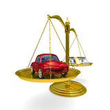 Car and cashes on scales Royalty Free Stock Photo