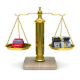 Car and cashes on scales. Isolated 3D Royalty Free Stock Photo