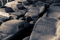 Car cemetery. Old cars in a car cemetery in switzerland Royalty Free Stock Photos
