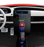 Car center console and smart phone display hacker icon. Stock Image