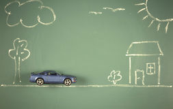 Car on chalkboard Stock Photography