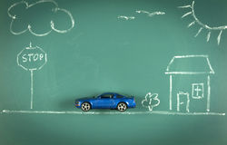 Car on chalkboard Royalty Free Stock Photos
