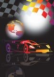 Car championship. A1 grand prix motorsport racing with flag iand globe stock illustration