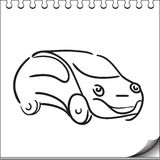 Car character. Sketch on white notebook page Stock Photo