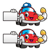 Car Character is Business Card a Phone and Box. Vector Car Masco Royalty Free Stock Photos