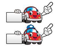 Car Character is holding a business card. Vector Car Mascot Desi Stock Photo