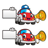 Car Character is holding a loudspeaker and business card. Vector Royalty Free Stock Photo