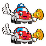 Car Character is holding a loudspeaker. Vector Car Mascot Design Stock Image