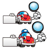 Car Character is holding a magnifying glass and business card. V Stock Photos
