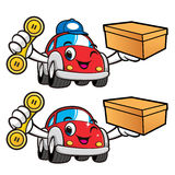 Car Character is holding a Phone and Box. Vector Car Mascot Desi Royalty Free Stock Photography