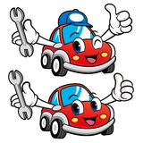 Car Character is holding a spanner. Vector Car Mascot Design Series Royalty Free Stock Photography