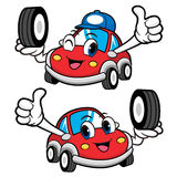 Car Character is Holding a Tire. Vector Car Mascot Design Series Royalty Free Stock Photo