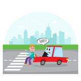Car character with human face hits a pedestrian. Road accident, car character with human face hits a pedestrian on city street, cartoon vector illustration Stock Photo