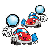 Car Character look through a magnifying glass. Vector Car Mascot Stock Photography