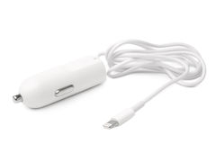 Car charger with cable to 8 pin Stock Photo