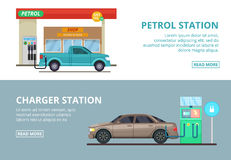 Car charging electricity, and petrol gas station. Vector illustrations in cartoon style. Transportation car to gas station Royalty Free Stock Photo