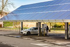 Car charging station for self-sufficient and first photovoltaic panels in Europe. it is also free.  royalty free stock photos
