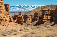 Car in Charyn Canyon Royalty Free Stock Images