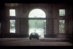 Car chase through an abandoned building stock video footage