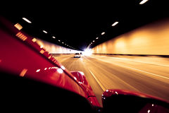 Driving through tunnel in high speed Stock Photography