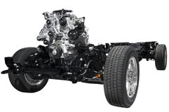 Car chassis with engine Royalty Free Stock Photos