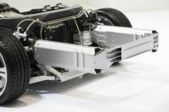 Car chassis with engine. Royalty Free Stock Photos