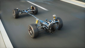 Car chassis with engine on highway. Very fast driving. Auto concept. 3d rendering. Royalty Free Stock Image