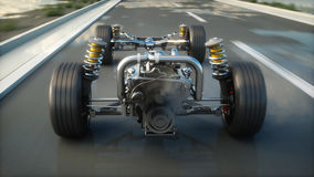 Car chassis with engine on highway. Very fast driving. Auto concept. 3d rendering. Stock Photography