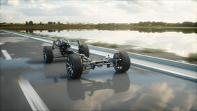 Car chassis with engine on highway. Very fast driving. Auto concept. 3d rendering. Car chassis with engine on highway. Very fast driving. Auto concept. 3d Stock Photography